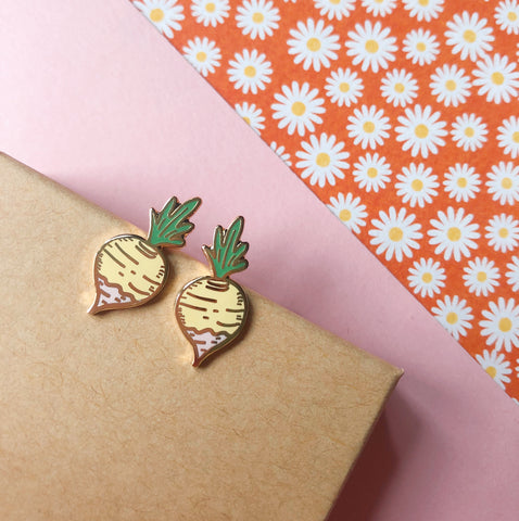 18k Gold Turnip Earrings