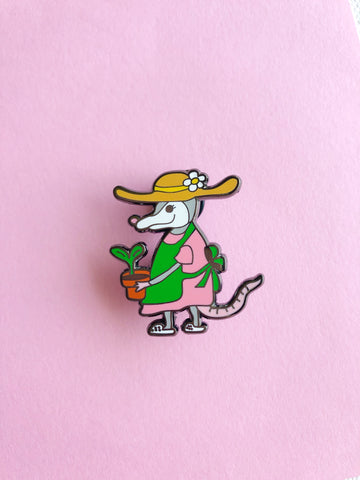 Summer Garden Possum enamel pin