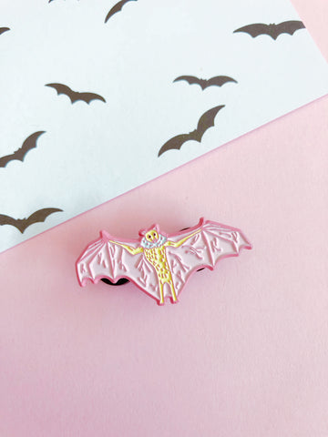 Pink Bat enamel pin
