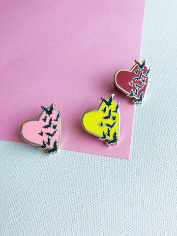 Bat Heart Enamel Pin