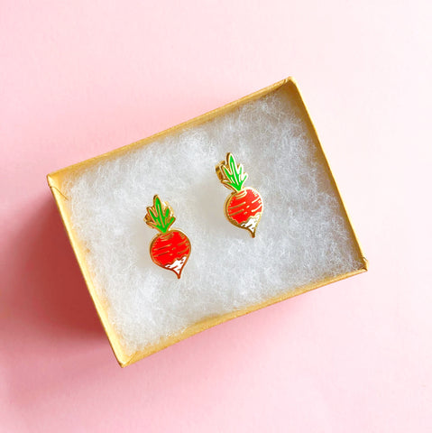 18k Gold Radish Earrings