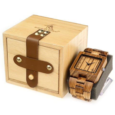 2018 Brand Mens Watches BOBO BIRD All Black Wood Watches with Wood Strap Wood Gift box relogio masculin C-L24