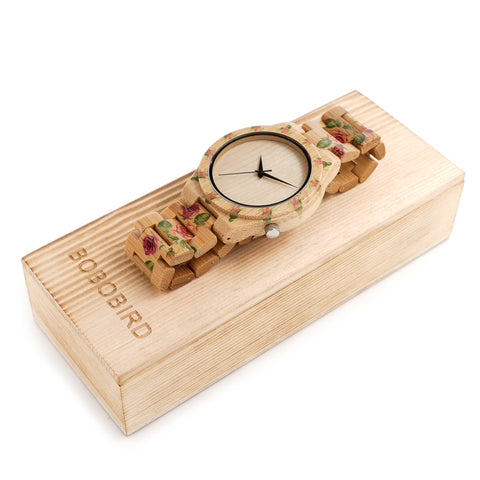 2018 New Design BOBO BIRD Luxury Brand Women Wood Watches Bamboo Quartz Wooden Watch relogio feminino C-D21