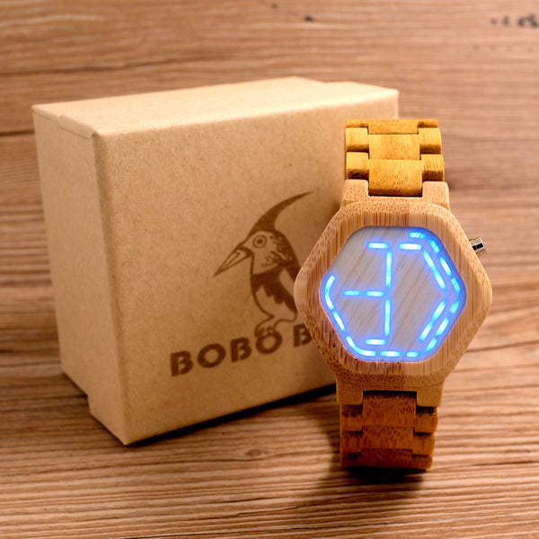 2018 BOBO BIRD LED Wooden Watches Digital Watch Men Kisai Night Vision Calendar Wristwatch for Men Minimal Time Display C-E03