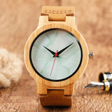Fashion Simple Quartz Genuine Leather Strap Bamboo Wristwatch Men Marble Pattern Face Nature Wood