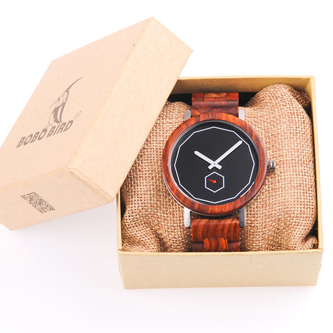 BOBO BIRD Luxury Red Wood Band Wrist Watch Men Japan Movement 2035 Quartz Wooden Watches Gifts relogio masculino C-M29