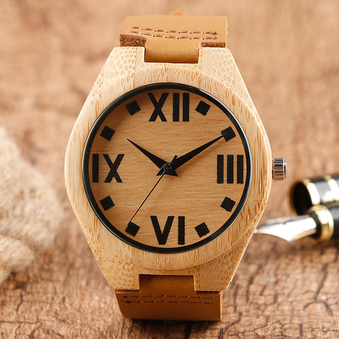 Roman Number Wood Watch Men Genuine Leather