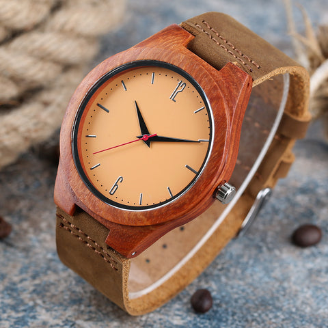 YISUYA Fashion Sandalwood Handmade Analog Bamboo Creative Watches Women Genuine Leather Band Wristwatch