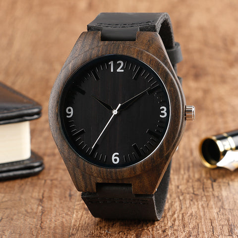 Simple Black Face Wooden Watch Men Unique Nature Wood Cool  Creative Watches Genuine Leather Band Bamboo Wrist Watch 2018