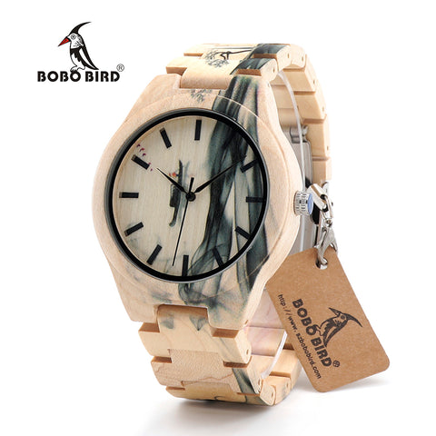 New Arrival BOBO BIRD Wooden Watch Men Luxury Handmade Japan Move' 2035 Wood Band Quartz Writ Watches Male Relogio C-O17