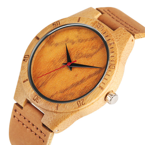 Orange/Green Dial Nature Wood Watch Novel Men Simple Quartz Wooden Wristwatch