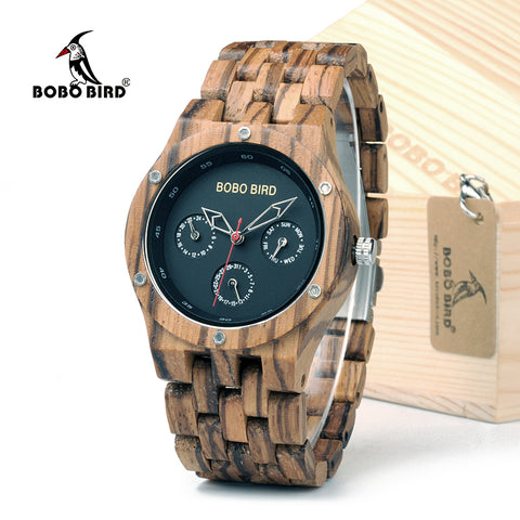 Top Brand BOBO BIRD Men Handmade Wood Watches Week Date Hours Pointer Watch Lightweight Retro Wrist Watch With Gift Box