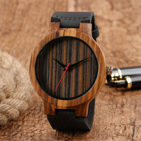 2018 Nature Wood Mens Wristwatch Analog Handmade Bamboo Watch Stripe Genuine Leather Strap Quartz Creative
