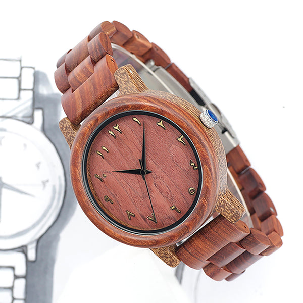 BOBO BIRD Natural Red Wooden Watches Mens Japan Movement 2035 Quartz Wristwatches Ideal Gifts Items relogio masculino C-N13