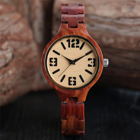 Full Red Sandalwood Women's Bracelet Watches Bamboo Creative Quartz Ladies Watch Wooden Handmade Dress Clock 2018 New Best Gift