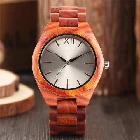 Nature Wood Analog Mens Watches Creative Red Full Wooden Silver Face Handmade