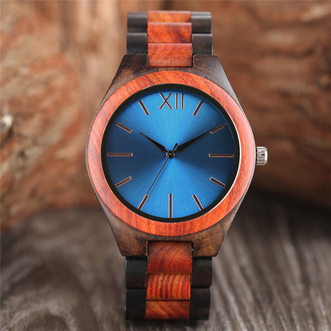 Full Wooden Watch Men Dark Brown/Sapphire Blue Creative Nature Wood Wristwatches Gift Fashion Analog Novel Handmade Clock