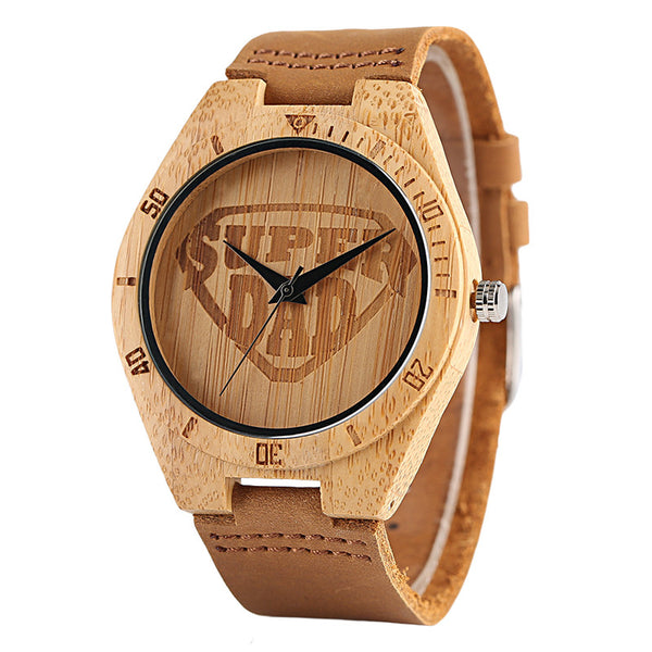 Creative Watches Sport Genuine Leather Band SUPER DAD Dial Nature Bamboo Watch Men Fashion Casual Nature Wood Bangle Clock Gift