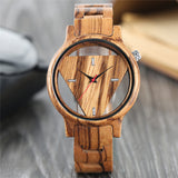 Unique Hollow Triangle Dial Wood Watch Women Quartz Full Bamboo Wooden Handmade Creative Watches Christmas Gift Analog