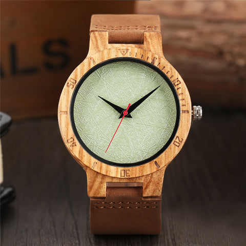 Creative Green Face Dial Watches Bamboo Wood Genuine Leather Strap Nature Wooden Wristwatch Women Casual Simple Modern Clock