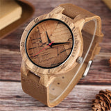 Cool Creative Watches Pin Stripe/Broken Leaves Face Nature Zebra Wood Watch Handmade Wooden Women Bangle Quartz Clock Gift