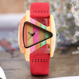 Creative Women Watches Wood Bamboo Ladies Watch Colorful Wooden Handmade Casual Quartz Clock Genuine Leather Band Beautiful Gift