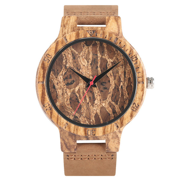 Zebra/Cork Slag/Broken Leaves Face Wood Watch Men Nature Wooden Creative Watches Simple Genuine Leather Band Quartz Clock Gift