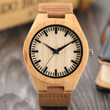 Wooden Quartz Wrist Watch Men Modern Bamboo Sport Genuine Leather Band Creative Watches Minimalist Nature Wood Simple Jewelry