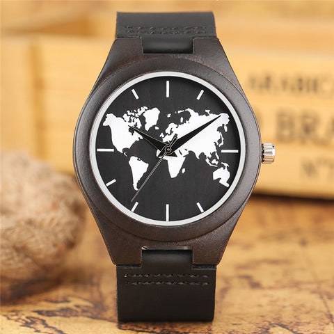 Novel World Map Dial Wooden Watch Men Casual Quartz Creative Watches Genuine Leather Band Analog Black Sandalwood Clock 2018 New