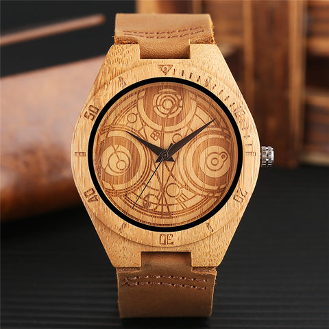 Luxury Bamboo Wrist Watch Men Genuine Leather Band Dr. Who Dial Quartz Wood Creative Watches Fashion Handmade Clock Best Gift