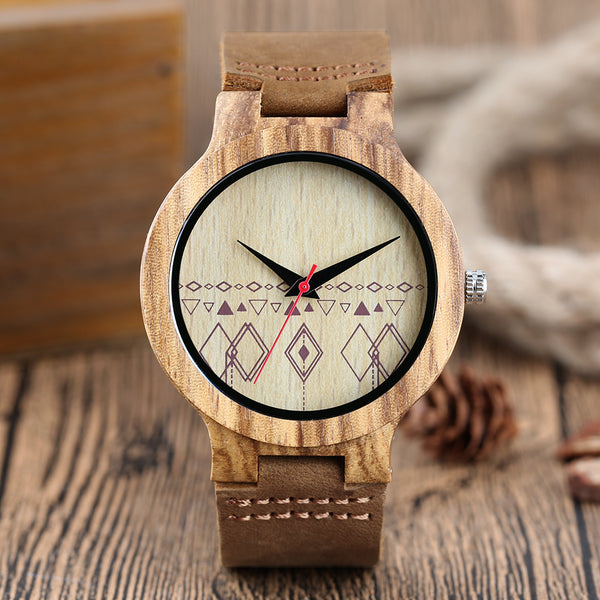 Fashion Wooden Watches Creative Rhombus Dial Handmade Wood Watch Men 2018 New Bamboo Modern Quartz Clock