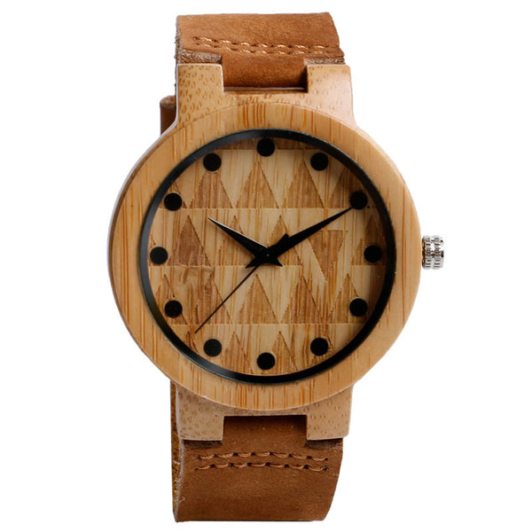 Nature Wood Bamboo Wristwatch Men Simple Minimalist Quartz Creative Watches Gift Genuine Leather