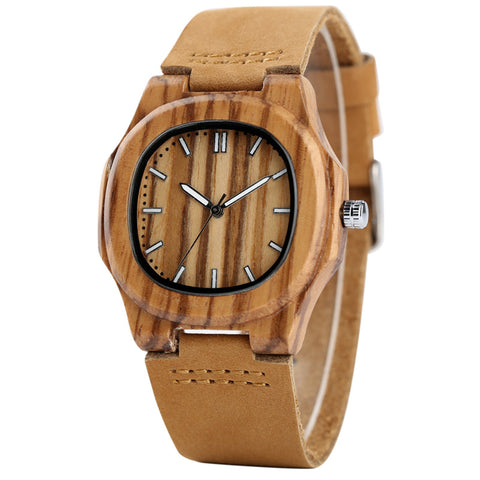 YISUYA Bamboo Wooden Watch Women Unique Design Genuine Leather Band Modern Quartz Creative Watches Business Wood Clock Gift