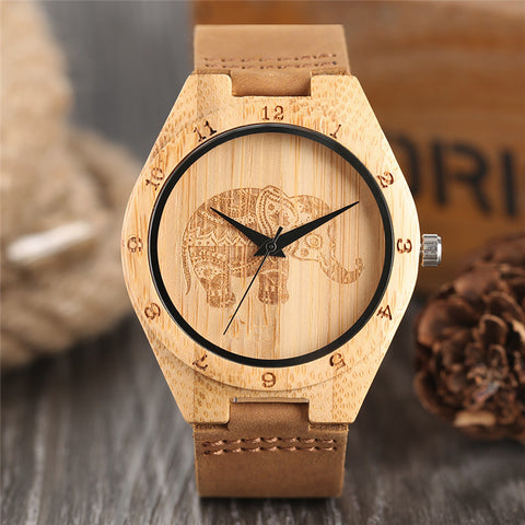 Creative Elephant Wood Watch Women Bamboo Modern Nature Wood Watches Genuine Leather Band Wristwatch Gift Casual Fashion Clock