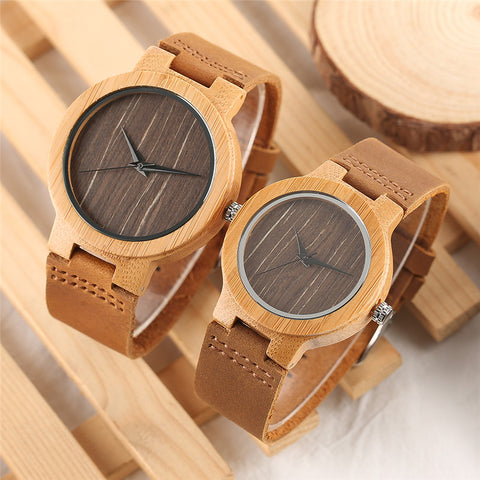 Minimalist Coffee Dial Wood Watch Men Genuine Leather Band Creative Women Watches Bamboo Wooden Quartz Couple Clock Lovers' Gift