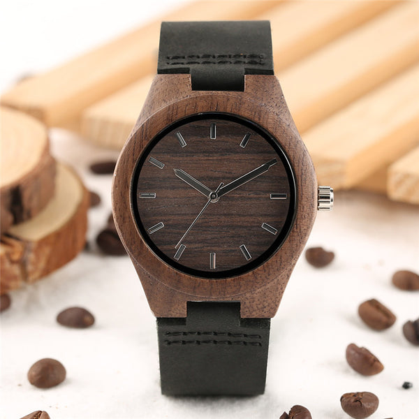 Simple Coffee Wood Case Ladies Watches Creative Genuine Leather Band Elegant Wrist Watch Women Fashion Casual Quartz Clock Gift