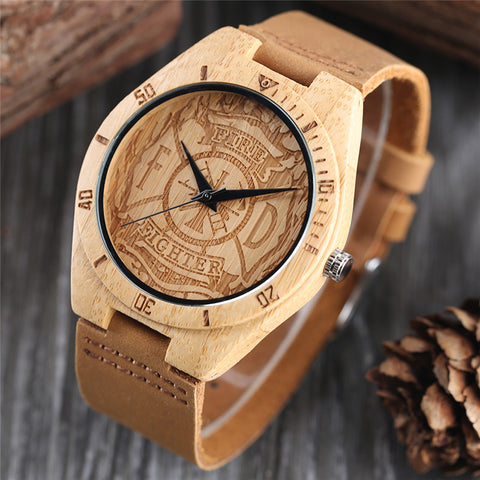 Creative Bamboo Wooden Wrist Watch Men Fire Fighter Handmade Nature Wood Watches Novel Bangle Genuine Leather Band Clock Gift