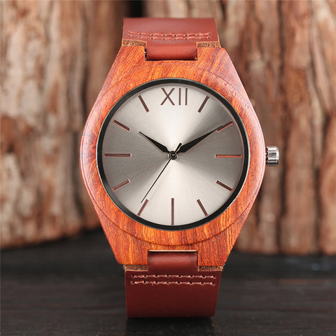 Modern Quartz Wooden Watch Men Fashion Red Brown Wood Wristwatch Genuine Leather Band Creative Watches 2018 New Fashion Clock