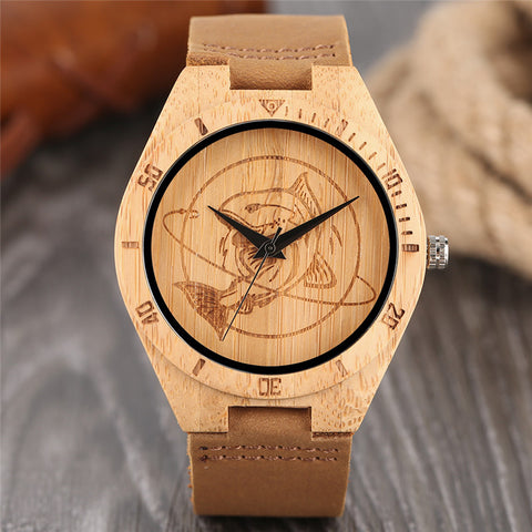 Fashion Wood Watch Men Shark Dial Handmade Wooden Creative Watches Genuine Leather Band Modern Bamboo Clock Gift 2018 New