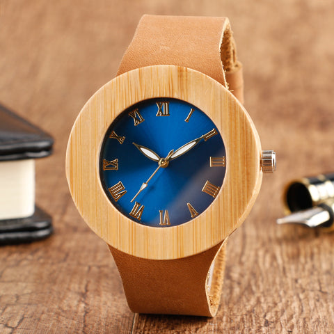 2018 New Minimalist Watch Simple Genuine Leather Band Wristwatch Handmade Blue Face Women Creative Watches Bamboo Clock