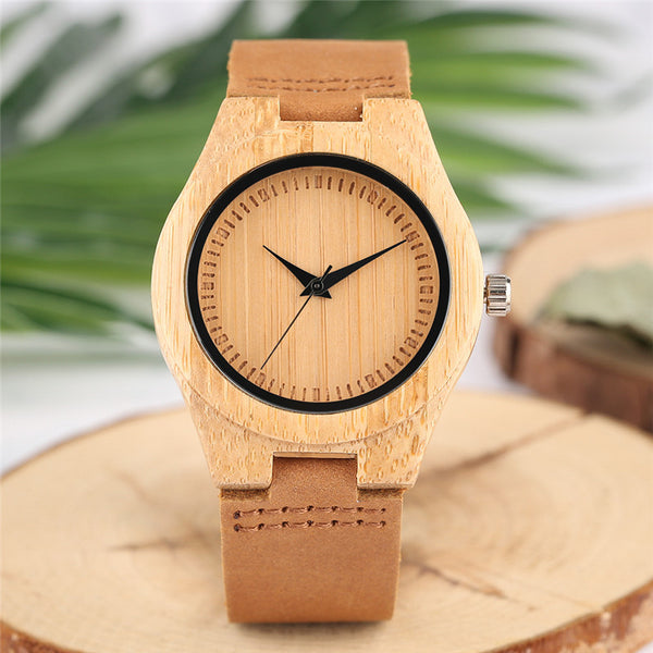 YISUYA Minimalist Wood Ladies Watches Creative Genuine Leather Band Quartz Bamboo Wooden Wristwatches Women Elegant Clock Gift