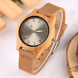 Nature Bamboo Women's Watch Quartz Creative Gold Smooth Dial Genuine Leather Band Ladies Watches Fashion Wood Clock Gift