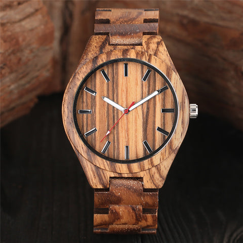 Creative Zebra Wood Watch Men Casual 2018 New Arrival Full Wooden Quartz Watches Simple Bangle Handmade Bamboo Clock Gift