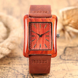 Rectangle Dial Women Creative Watches Bangle Nature Bamboo Wrist Watch Casual Genuine Leather Band Wood Clock Gift 2018 New