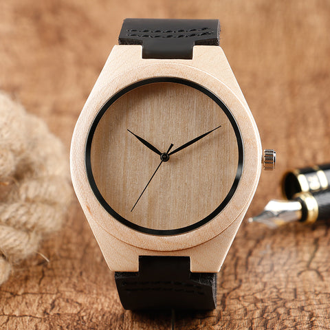 Fashion Bamboo Ladies Novel Bangle Wristwatch Men Analog Simple Nature Wood Genuine Leather Band Craetive Watches Gift