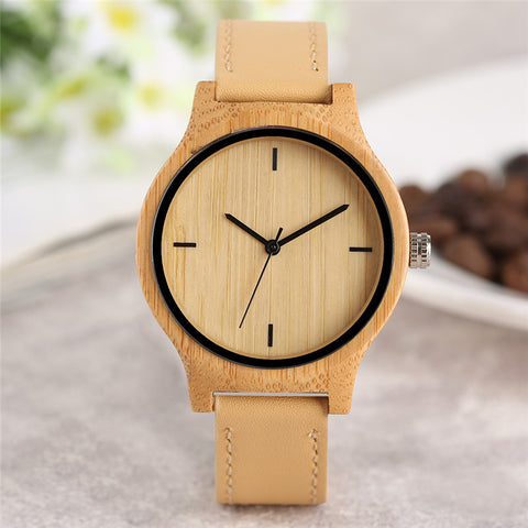 Simple Bamboo Quartz Ladies Watch Genuine Leather Band Novel Creative Women Watches 2018 New Nature Wood Wristwatch Gift Clock