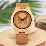 Bamboo Wooden Women Watches Creative Butterfly Dial Genuine Leather Band Quartz Nature Wood Ladies Watch Analog Clock Girl Gift