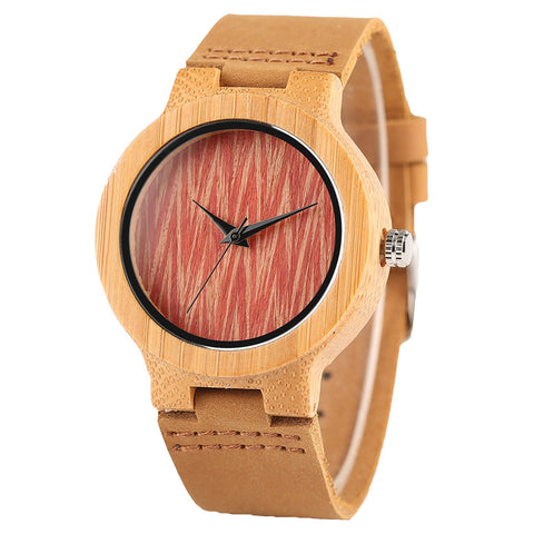 Bamboo Wooden Creative Women Watches Red Wave Pattern Genuine Leather Band Ladies Wristwatch Fashion Analog Wood Clock Girl Gift