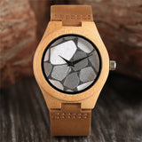 Minimalist Silver/Blue Face Dial Sandalwood Wristwatch Men Sport Clock Gift Genuine Leather Strap Creative Bamboo