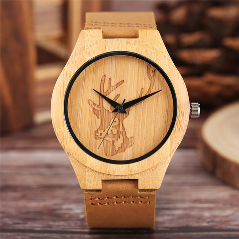 Minimalist Bamboo Deer Head Quartz Men Watch Nature Wood Analog Creative Watches